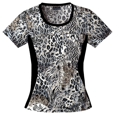 Cherokee Flexibles Women's Round Neck Knit Panel Top On The Prowl