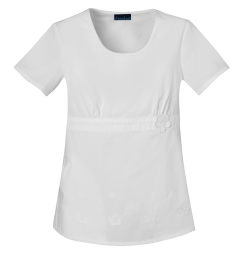 Cherokee Fashion Solids Women's Round Neck Embroidered Top White