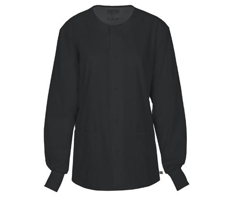 Cherokee Workwear WW Flex Unisex Unisex Snap Front Warm-up Jacket Black