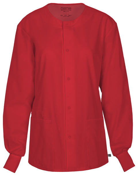 Cherokee Workwear WW Flex Unisex Unisex Snap Front Warm-up Jacket Red