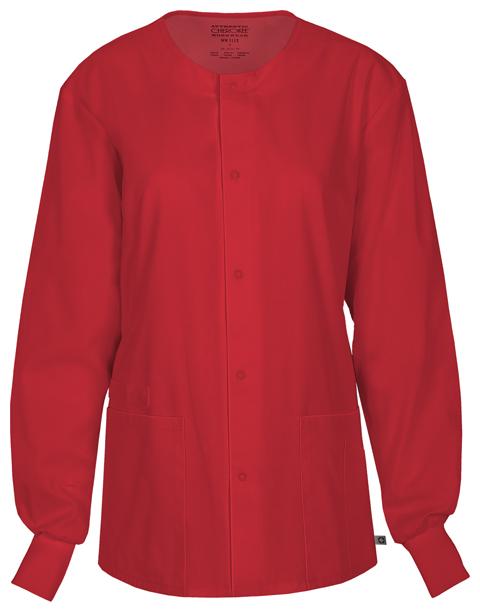 Cherokee Workwear WW Flex Unisex Unisex Snap Front Warm-up Jacket Red