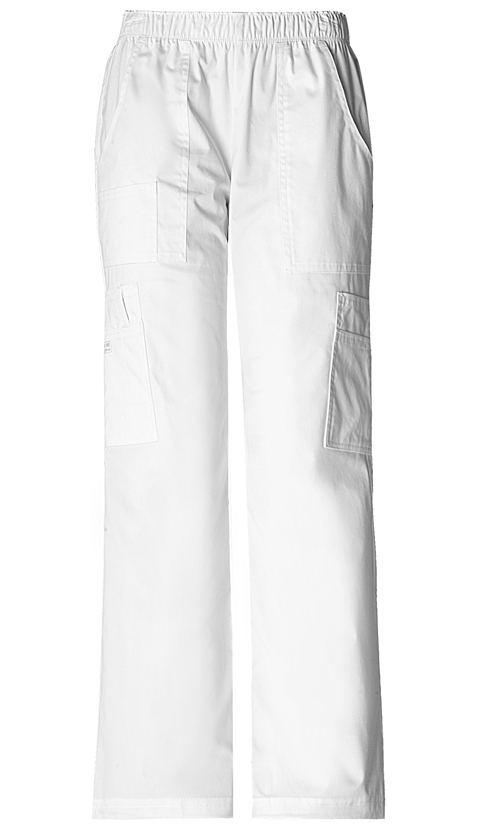 Cherokee Workwear WW Premium Women's Mid Rise Pull-On Pant Cargo Pant White
