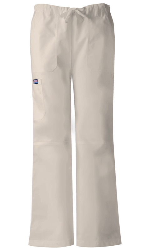 Cherokee Workwear WW Originals Women's Low Rise Drawstring Cargo Pant Khaki