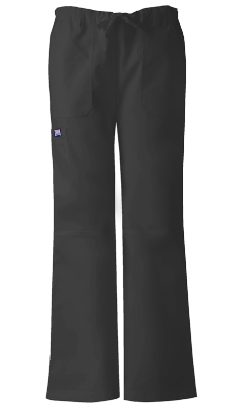 Cherokee Workwear WW Originals Women's Low Rise Drawstring Cargo Pant Black