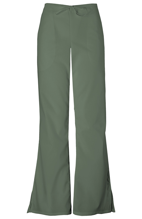 Cherokee Workwear WW Originals Women's Natural Rise Flare Leg Drawstring Pant Green