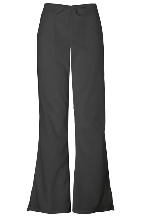 Cherokee Workwear WW Originals Women's Natural Rise Flare Leg Drawstring Pant Black