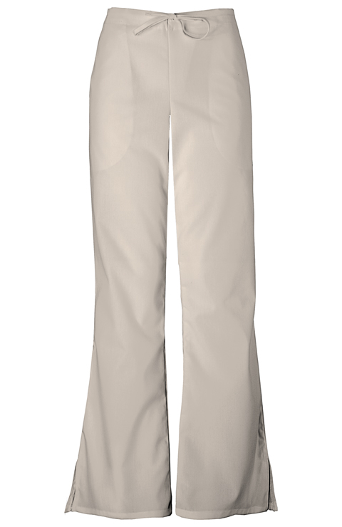 Cherokee Workwear WW Originals Women's Natural Rise Flare Leg Drawstring Pant Khaki