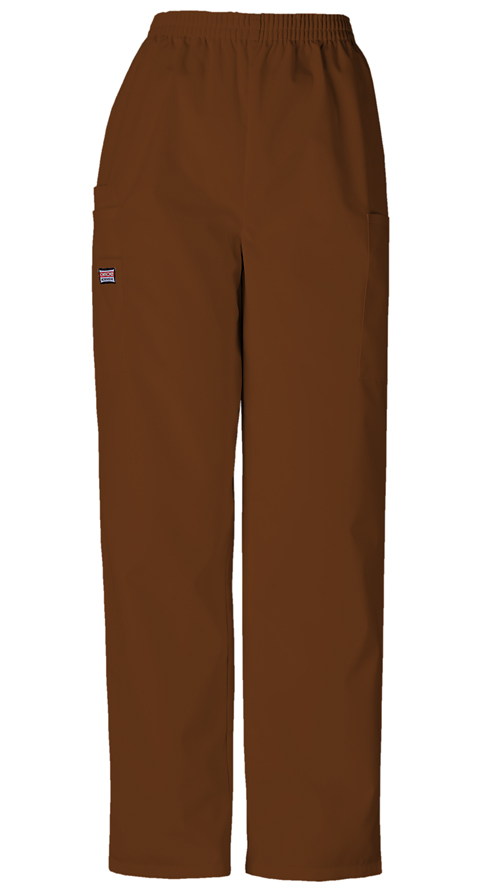 Cherokee Workwear WW Originals Women's Natural Rise Tapered LPull-On Cargo Pant Brown