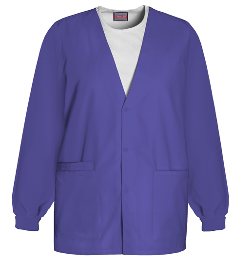 Cherokee Workwear WW Originals Women's Cardigan Warm-Up Jacket Purple