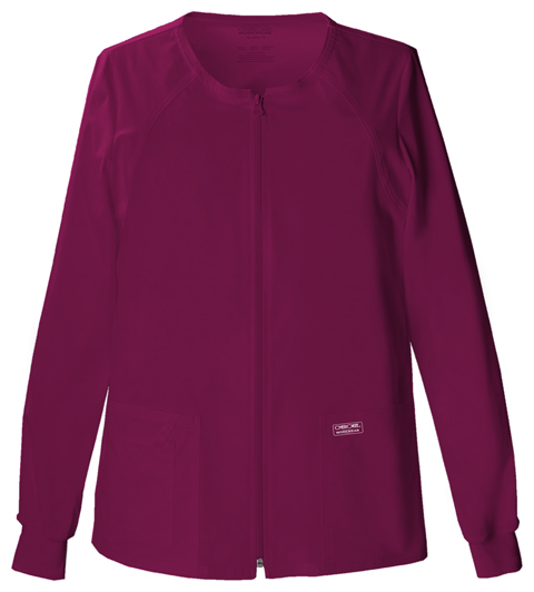Cherokee Workwear WW Premium Women's Zip Front Warm-Up Jacket Purple