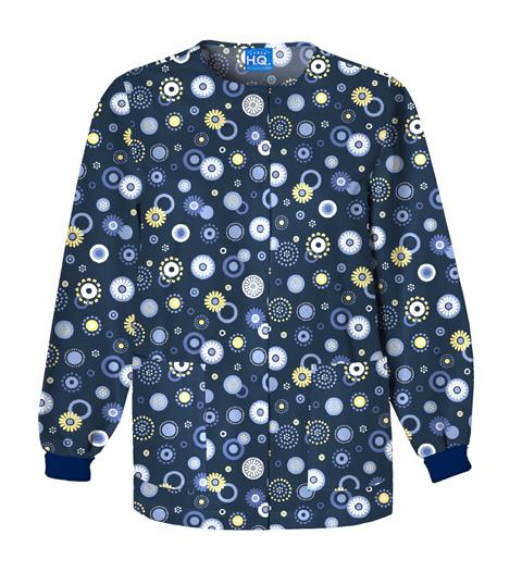 Scrub HQ Cherokee Prints Women's Snap Front Warm-Up Jacket Blue