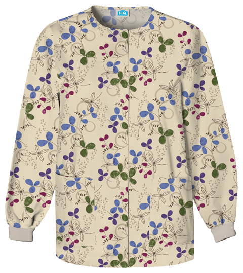 Scrub HQ Cherokee Prints Women's Snap Front Warm-Up Jacket Khaki