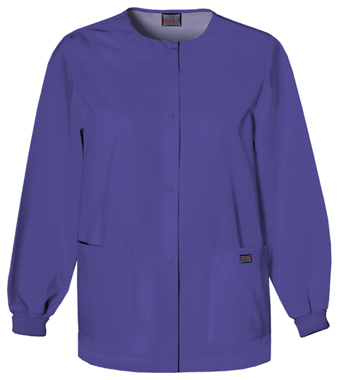 Cherokee Workwear WW Originals Women's Snap Front Warm-Up Jacket Purple