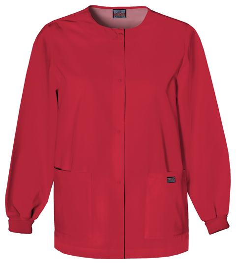 Cherokee Workwear WW Originals Women's Snap Front Warm-Up Jacket Red
