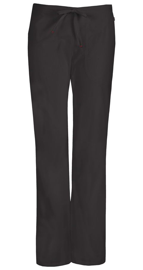Code Happy Bliss Women's Mid Rise Moderate Flare Drawstring Pant Black