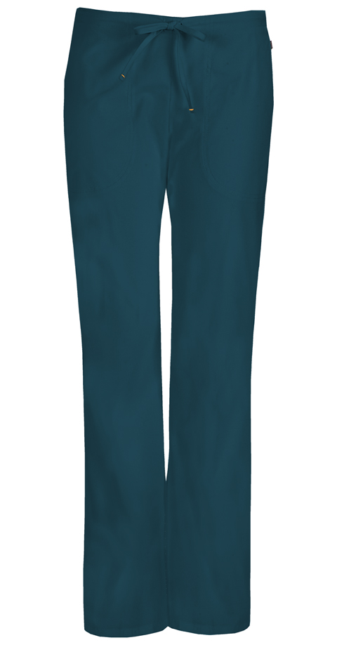 Code Happy Bliss Women's Mid Rise Moderate Flare Drawstring Pant Blue