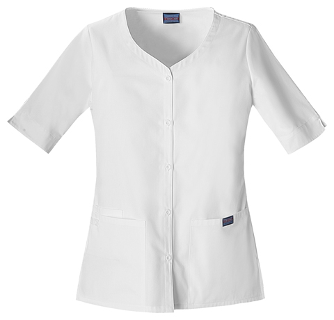 Cherokee Workwear WW Originals Women's Button Front Top White
