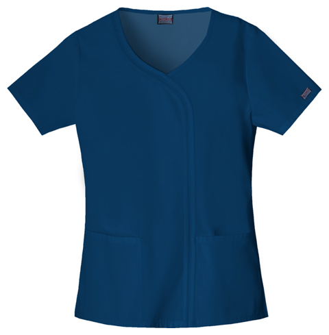Cherokee Workwear WW Originals Women's Mock Wrap Top Blue