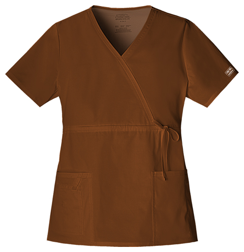 WW Premium Women's Mock Wrap Top Brown