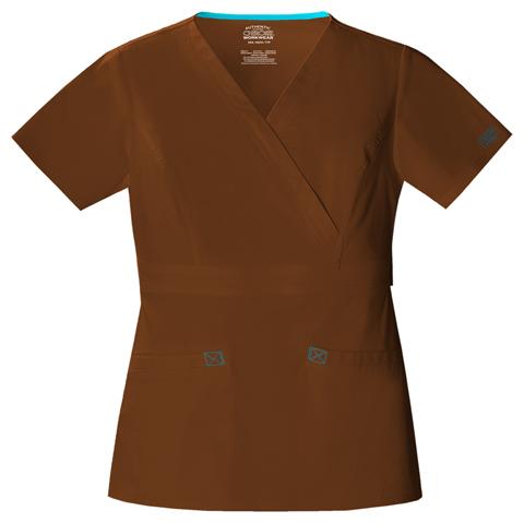 Cherokee Workwear WW Premium Women's Mock Wrap Top Brown