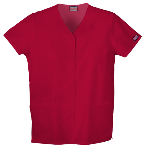 Cherokee Workwear WW Originals Women's Snap Front V-Neck Top Red