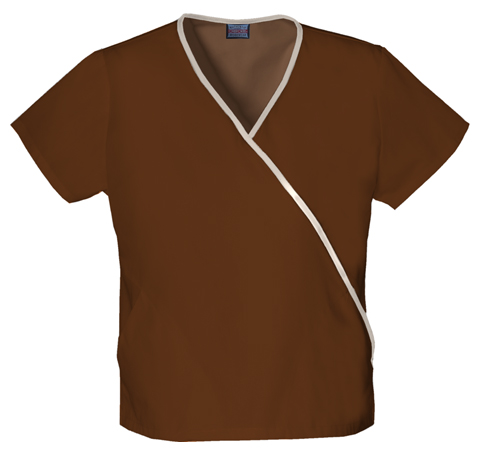WW Originals Women's Mini Mock Wrap Top Brown
