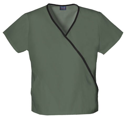 Cherokee Workwear WW Originals Women's Mini Mock Wrap Top Green