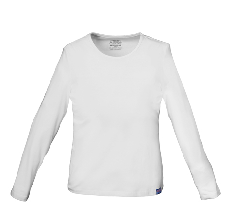 WW Originals Women's Long Sleeve Crew Neck Knit Tee White