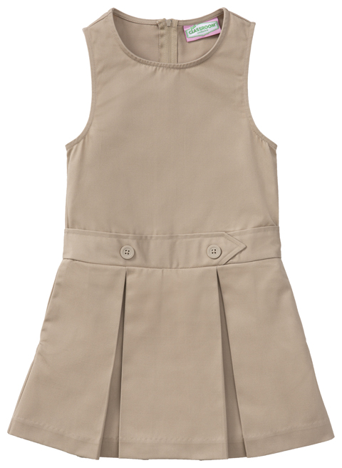 Classroom Uniforms Classroom Girl's Girls Plus Kick Pleat Jumper Khaki