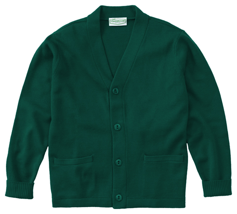 Classroom Child's Unisex Youth Unisex Cardigan Sweater Green