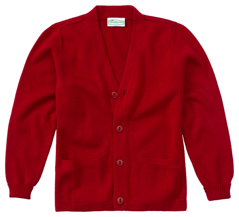 Classroom Child's Unisex Youth Unisex Cardigan Sweater Red