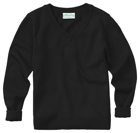 Classroom Child's Unisex Youth Unisex Long Sleeve V-neck Sweater Black