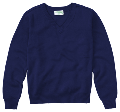 Classroom Child's Unisex Youth Unisex Long Sleeve V-neck Sweater Blue