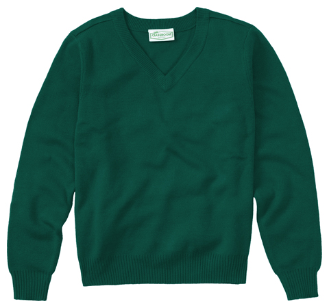 Classroom Child's Unisex Unisex Long Sleeve Youth V-neck Sweater Green