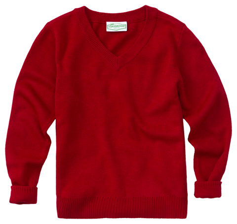 Classroom Child's Unisex Unisex Long Sleeve Youth V-neck Sweater Red