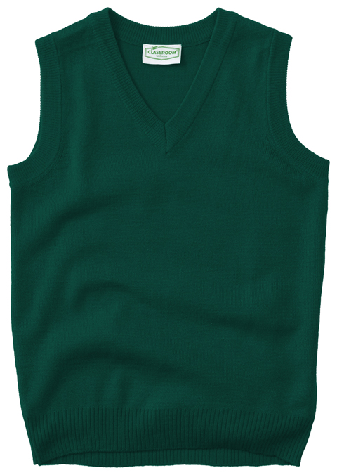 Classroom Uniforms Classroom Unisex Adult Unisex V-Neck Sweater Vest Green