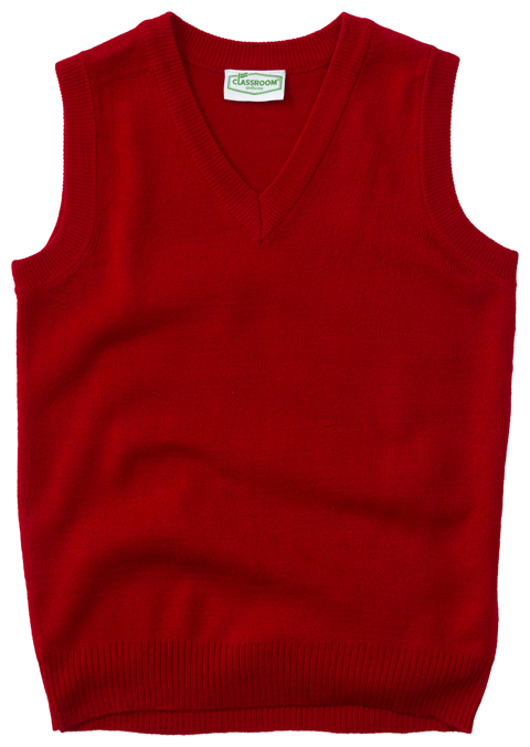 Classroom Uniforms Classroom Unisex Adult Unisex V-Neck Sweater Vest Red