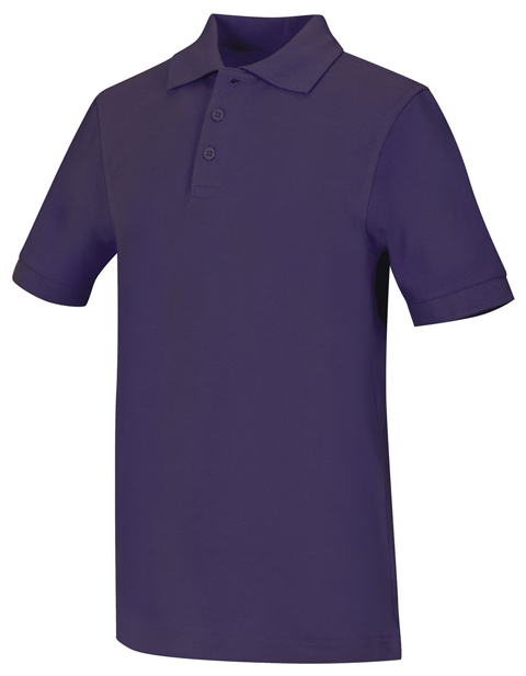 Classroom Child's Unisex Youth Unisex Short Sleeve Pique Polo Purple