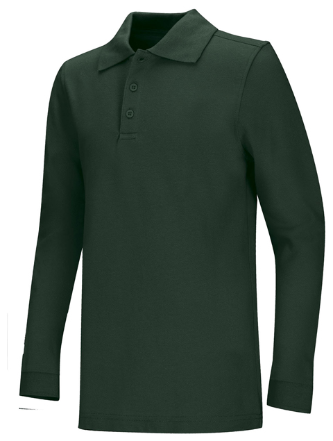 Classroom Child's Unisex Youth Unisex Long Sleeve Pique Polo Green