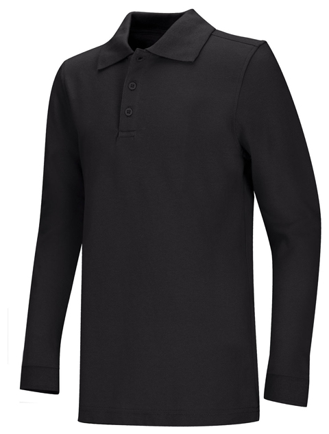 Classroom Unisex Adult Unisex Long Sleeve Pique Polo Black