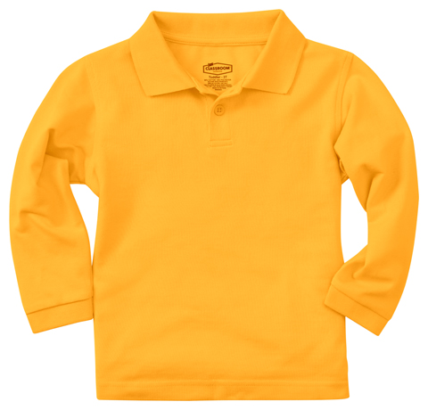 Classroom Unisex Adult Unisex Long Sleeve Pique Polo Yellow