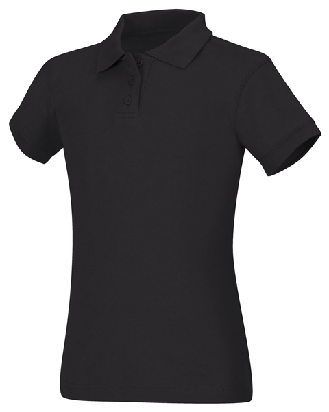 Classroom Uniforms Classroom Girl's Girls Short Sleeve Fitted Interlock Polo Black
