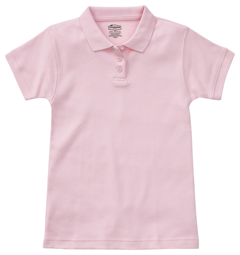 Classroom Uniforms Classroom Girl's Girls Short Sleeve Fitted Interlock Polo Pink