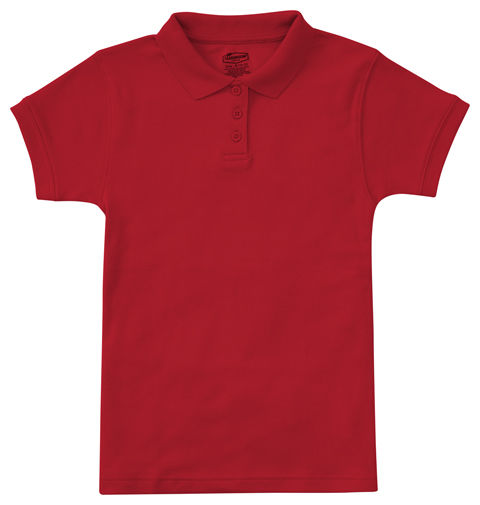 Classroom Girl's Girls Short Sleeve Fitted Interlock Polo Red