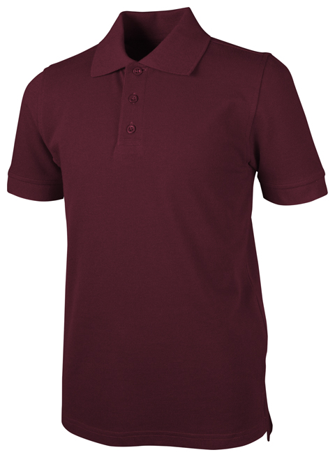 Real School Uniforms Child's Unisex Unisex Youth S/S Pique Polo Burgundy