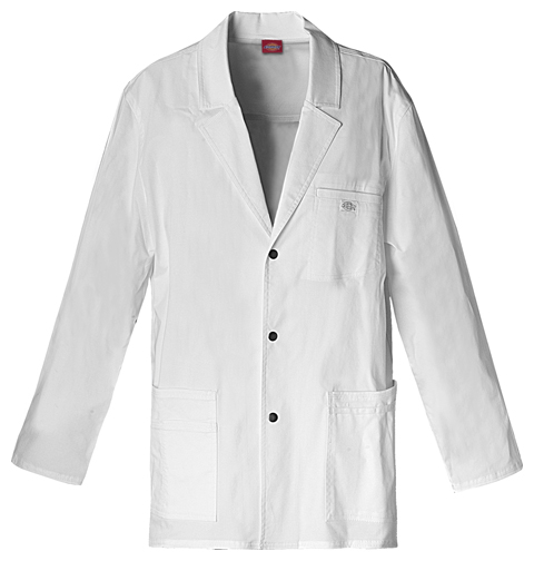 "Dickies Gen Flex Men's 31"" Men's Snap Front Lab Coat White"