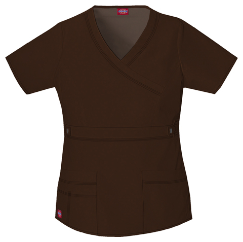 Dickies Gen Flex Women's Mock Wrap Top Brown