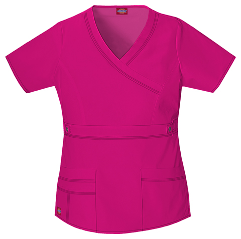 Dickies Gen Flex Women's Mock Wrap Top Pink