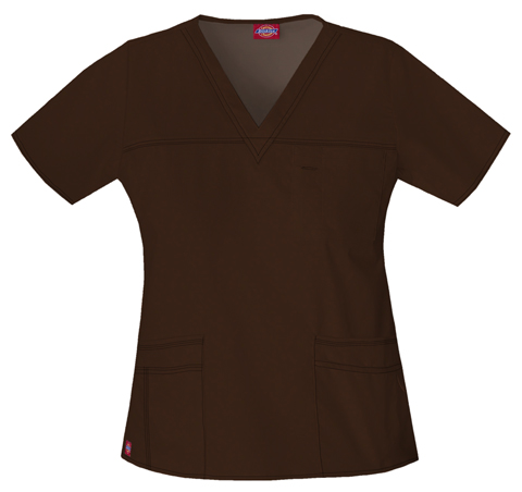 Dickies Gen Flex Women's V-Neck Top Brown