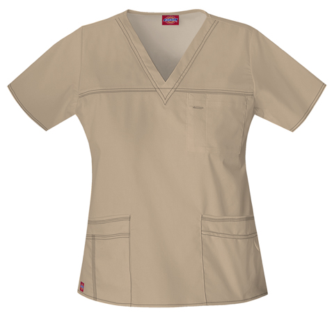 Dickies Gen Flex Women's V-Neck Top Khaki